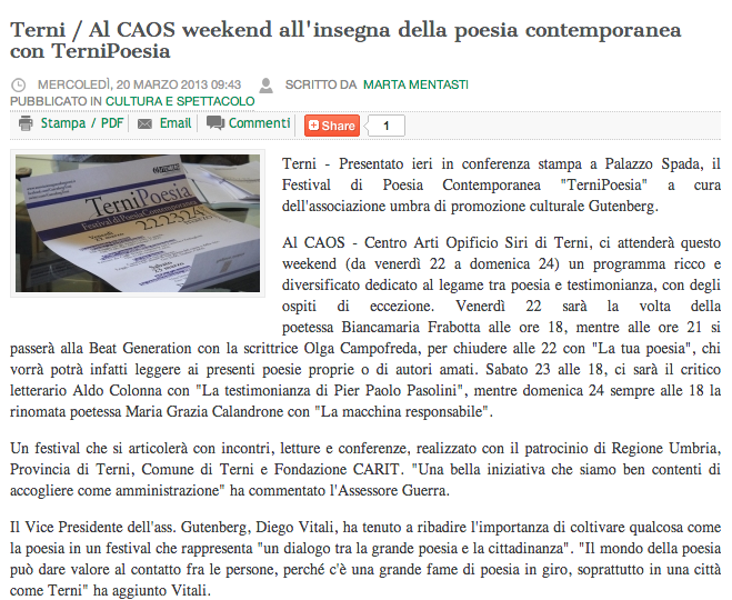 TerniPoesia - Cronache24
