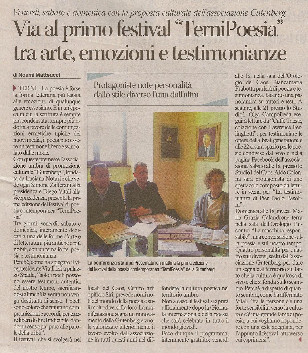 Il Corriere dell'Umbria - 20 marzo 2013