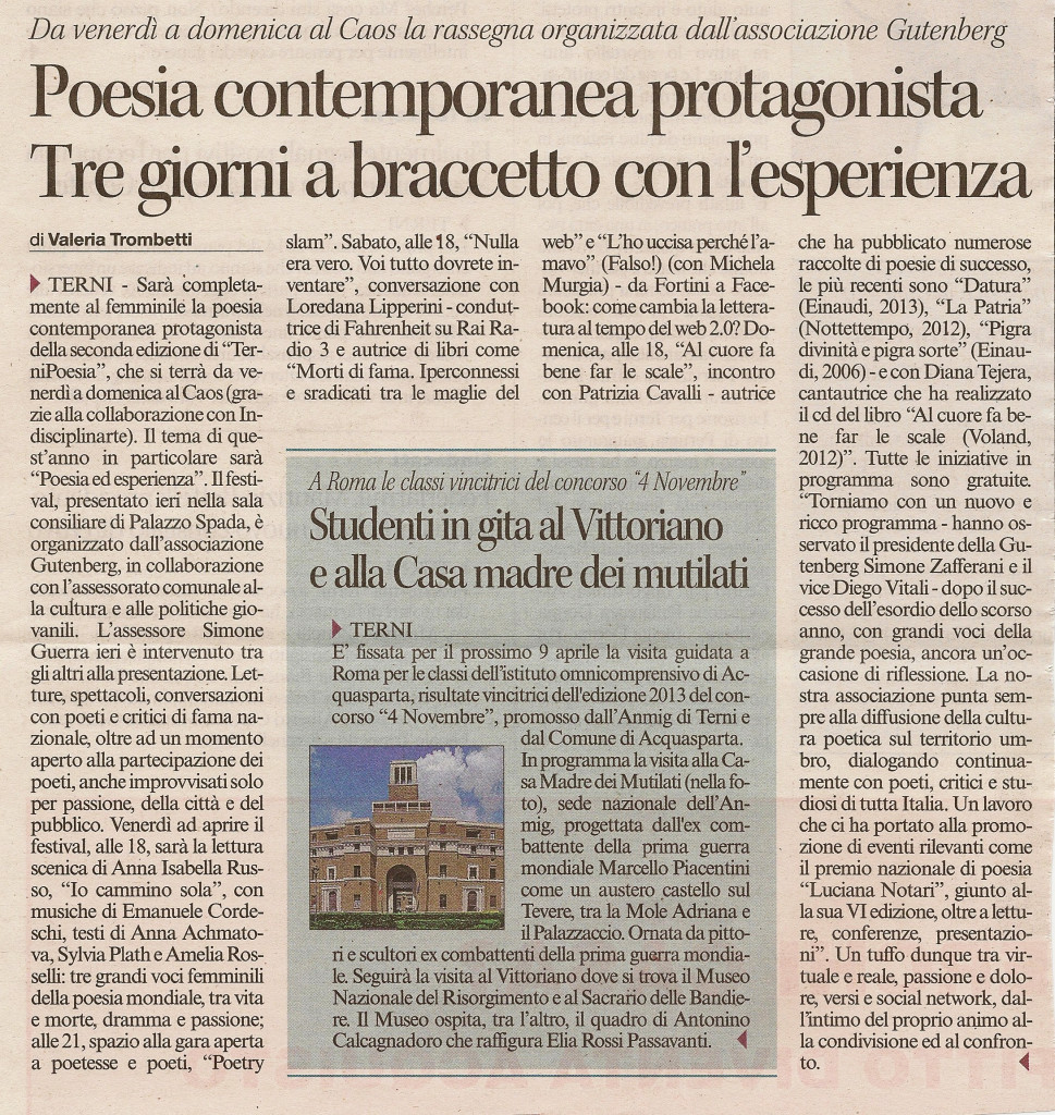 Corriere dell'Umbria - 1.4.14